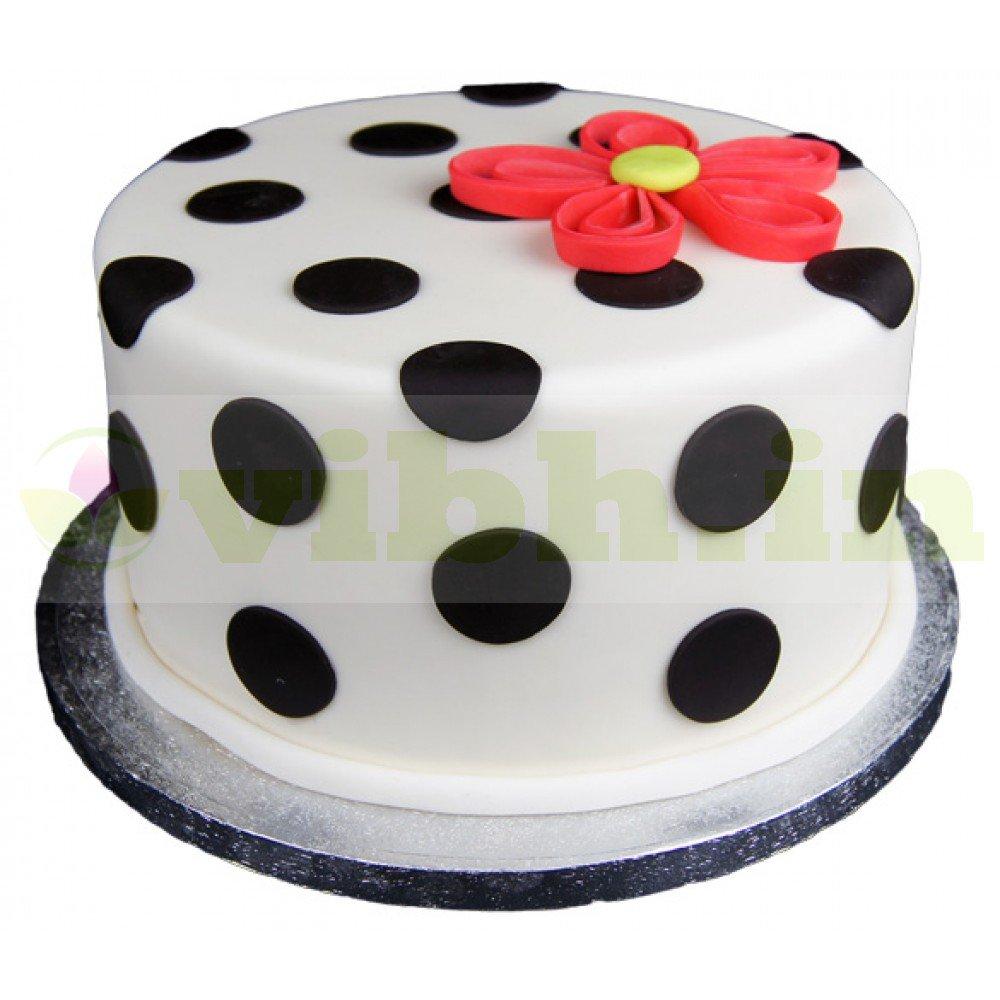 Outstanding Buy Polka Dot Quill Fondant Cake Online In Noida Greater Noida Funny Birthday Cards Online Necthendildamsfinfo