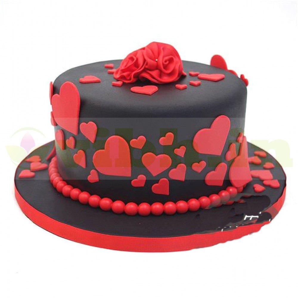 Fantastic Buy Red Black Romantic Fondant Cake Online In Noida Greater Funny Birthday Cards Online Bapapcheapnameinfo