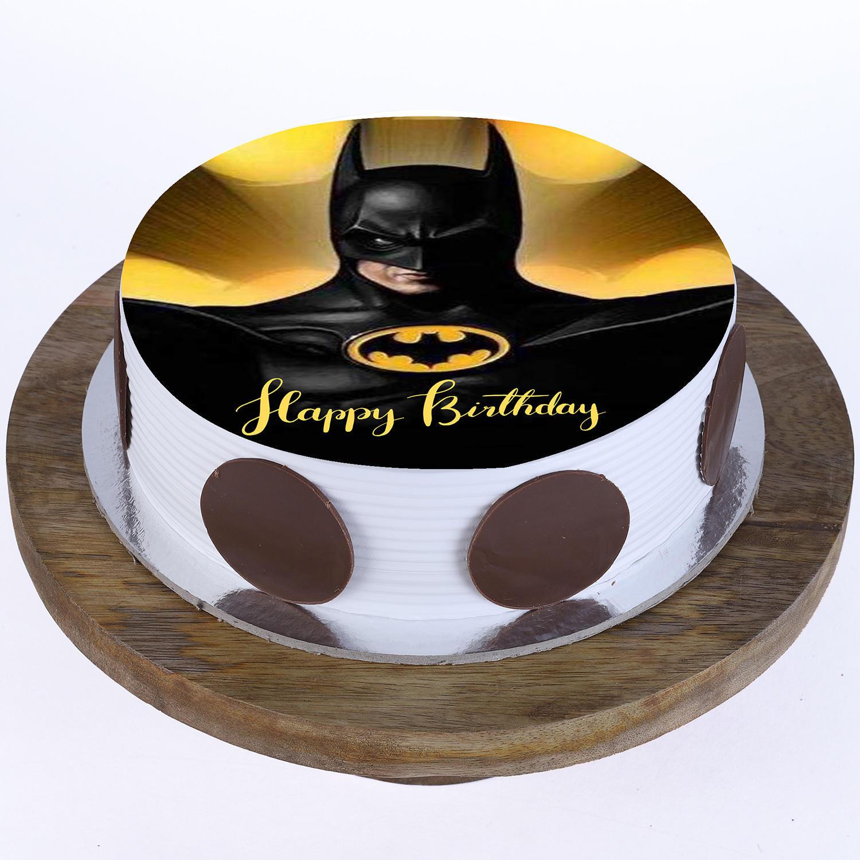 Astonishing Order Batman Pineapple Round Photo Cake Online In Noida Greater Birthday Cards Printable Opercafe Filternl